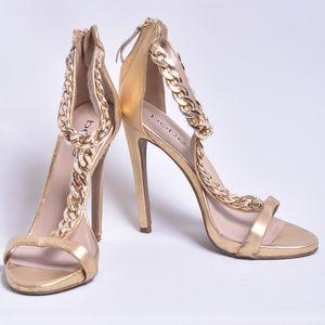 Bebe Gold T-Strap Chain Heels, Sz 6